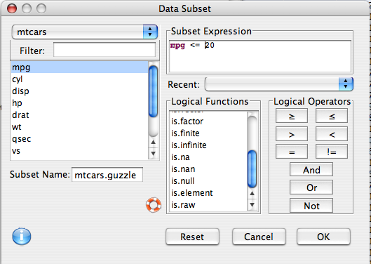 Deducer: A GUI for R - Subset